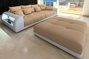 Modernes Big Sofa als Stoffcouch mit Lederrahmen oder komplettes Big Ledersofa