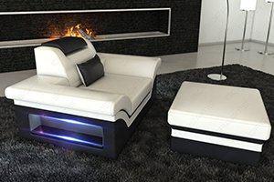 Ein gemütlicher Fernsehsessel in Leder ist unser moderner Ledersessel Monza