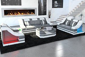 Stoffsofa Garnituren mit einem 3 Sitzer Sofa und einer 2er Couch plus einem Sessel